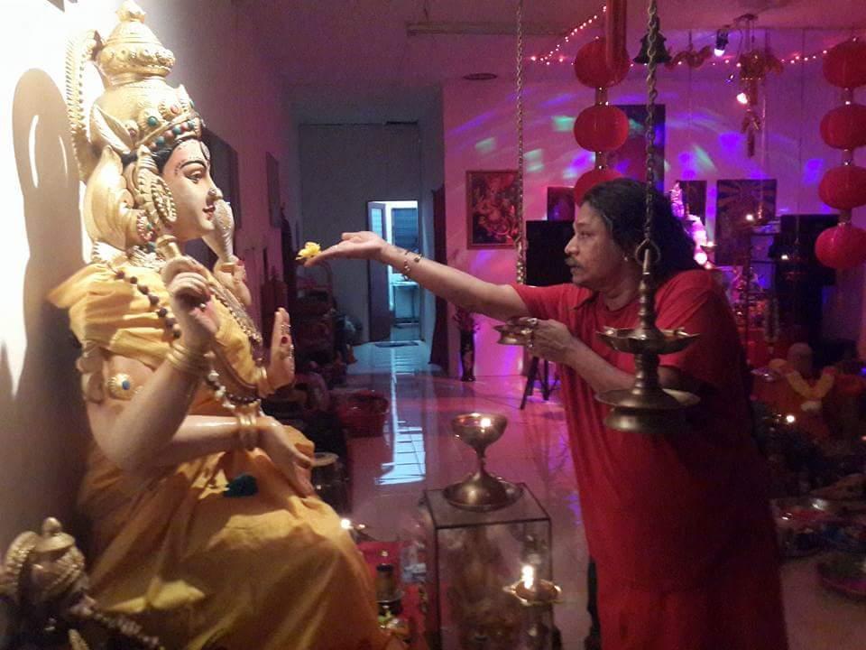 Gurudev Aghori Baba offering Prasadam (Food) to Maa Bagavathi during Puja