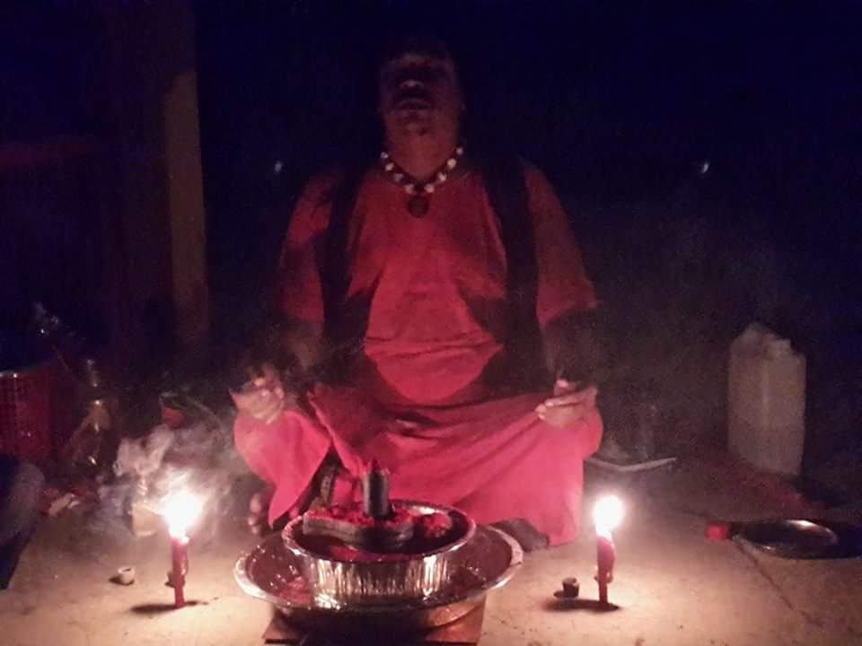 Gurudev Aghori Baba in Meditate state during Shiva Grahna Puja (Grahna=Eclipse)