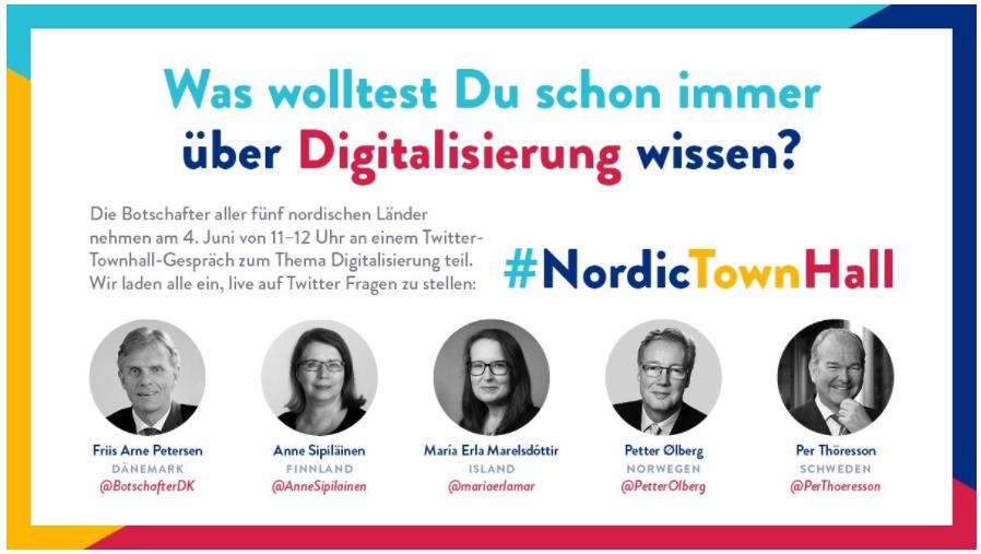 Einladung zur NordicTownHall. Bild von Nordische Botschaften.