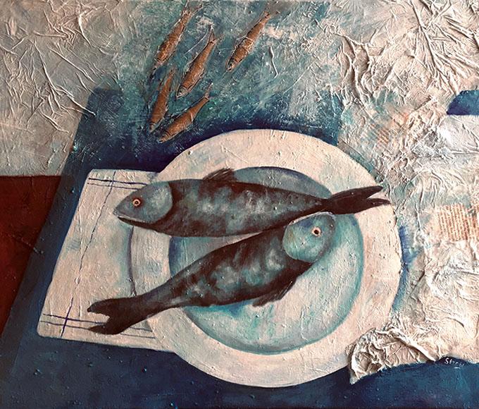 Tisch am Meer   Mixed Media auf Leinwand    50 x 60 cm   2021