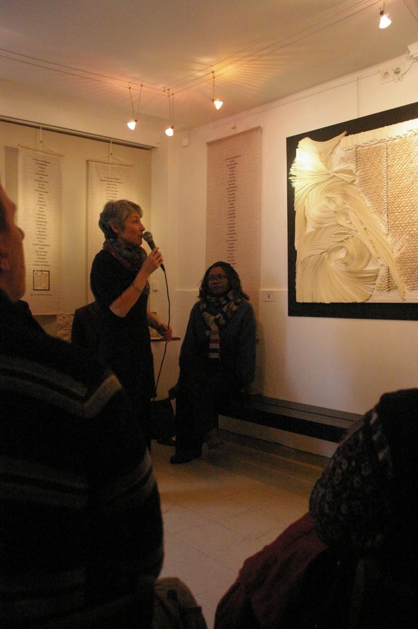 Anne-Marie Carthé et Hemley Boum lors de la rencontre littéraire et artistique à Mariac