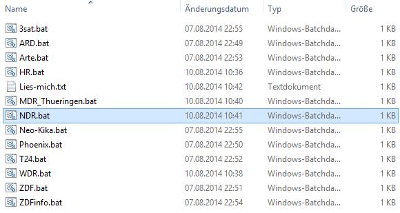 Die Batch-Dateien für VLC