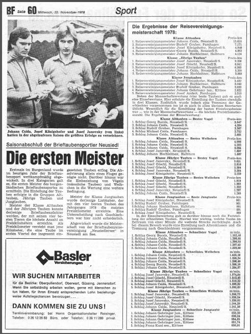 Meisterschaft 1978, erstes aktives Reisejahr der RV Neusiedlersee