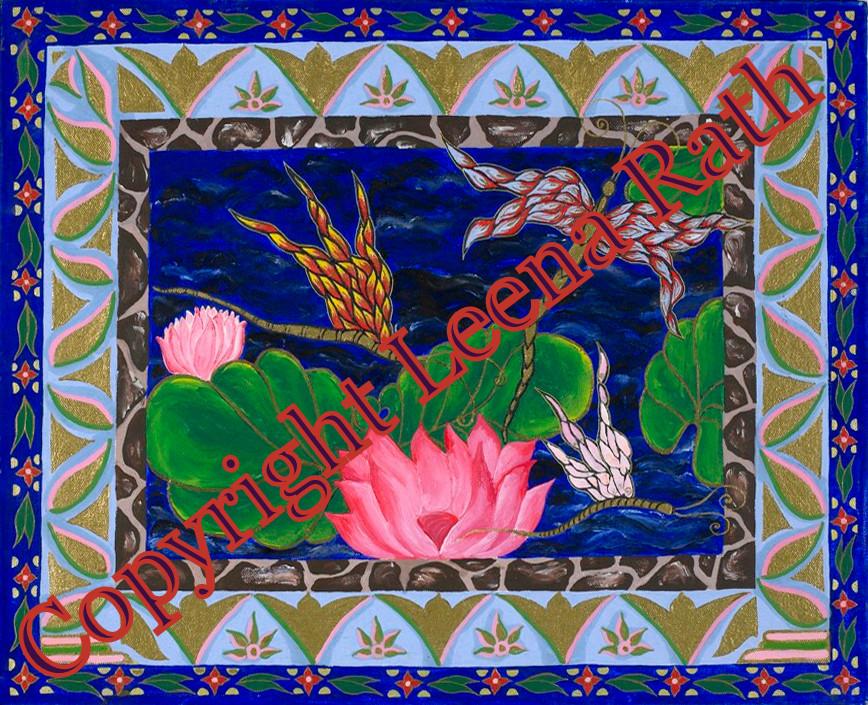 Lotus Miniaturmalerei 50 x 70