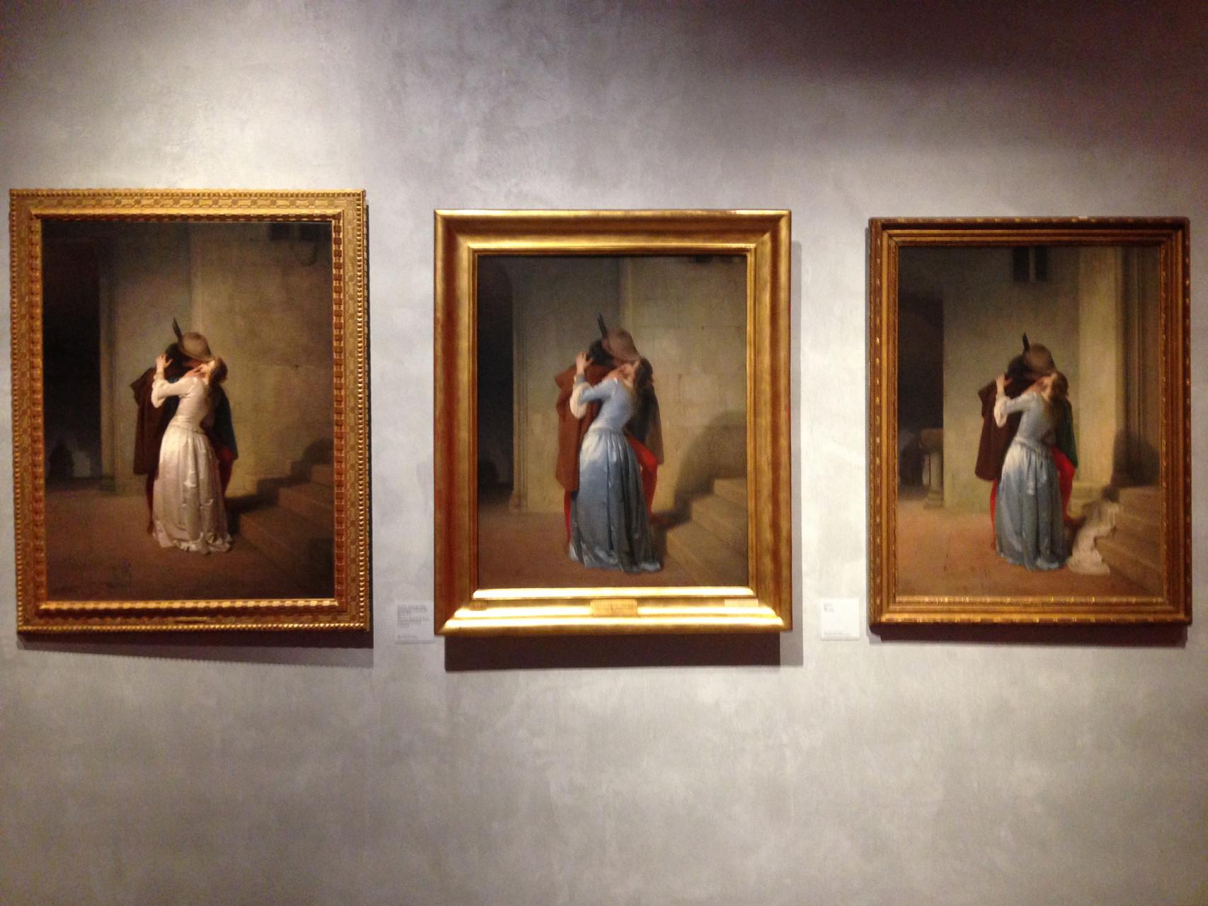 da sinistra verso destra il Bacio del 1861, del 1859 e quello del 1867.