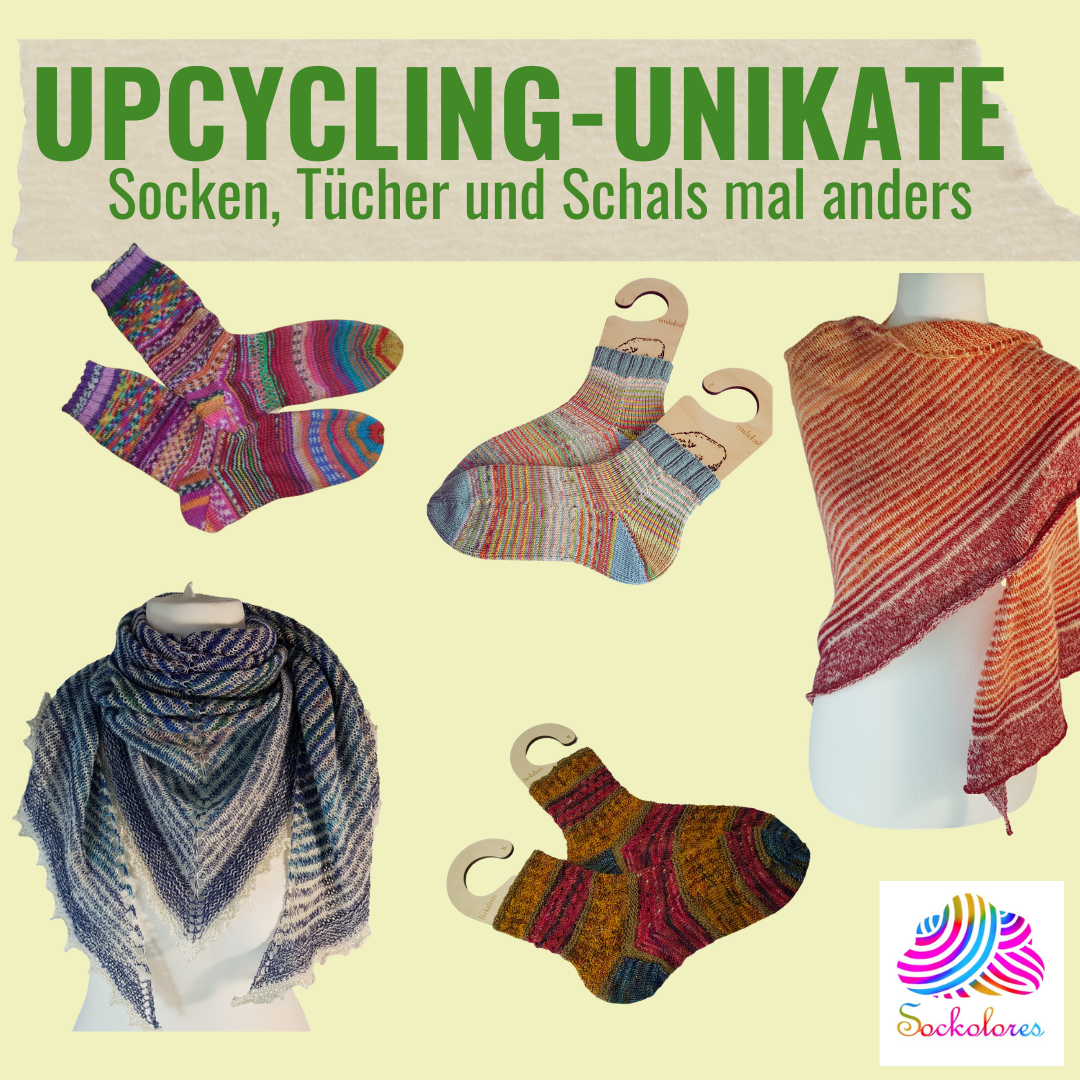 Neu im Shop: Upcycling-Unikate - Socken, Tücher und Schals