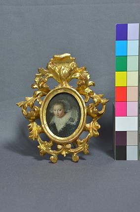 Damenporträt Miniatur auf Kupfer mit Rahmen, nach der Restaurierung