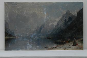 Gemälde, Fjordlandschaft von Georg Anton Rasmussen, vor der Restaurierung