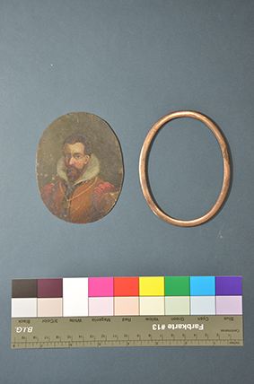 Herrenporträt Miniatur auf Kupfer, vor der Restaurierung