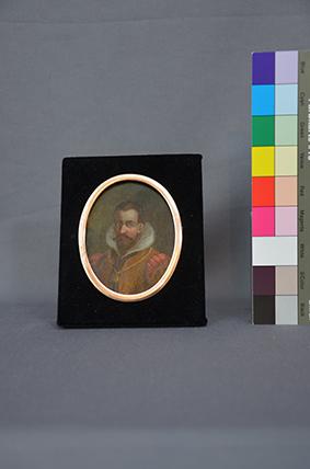 Herrenporträt Miniatur auf Kupfer, nach der Restaurierung