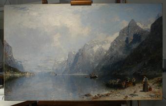 Gemälde, Fjordlandschaft von Georg Anton Rasmussen, nach der Restaurierung