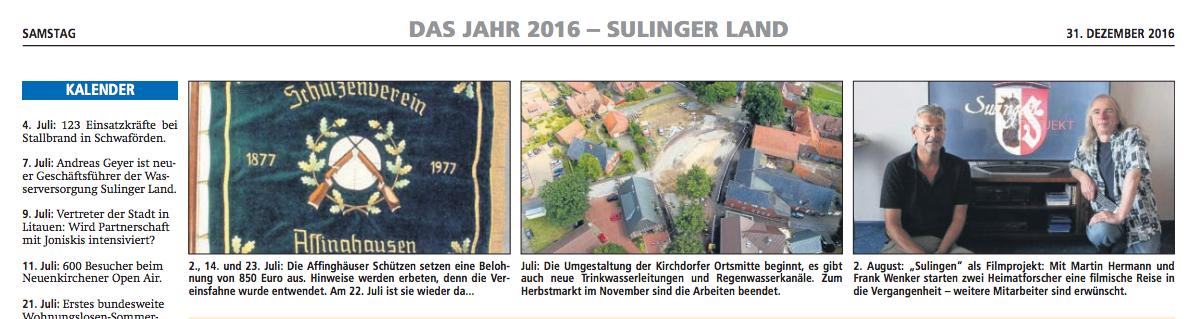 31.Dezember 2016 Sulinger Kreiszeitung | Jahresrückblick