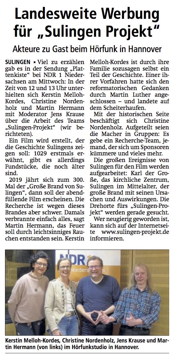 Sulingen Kreiszeitung, 22.02.2018