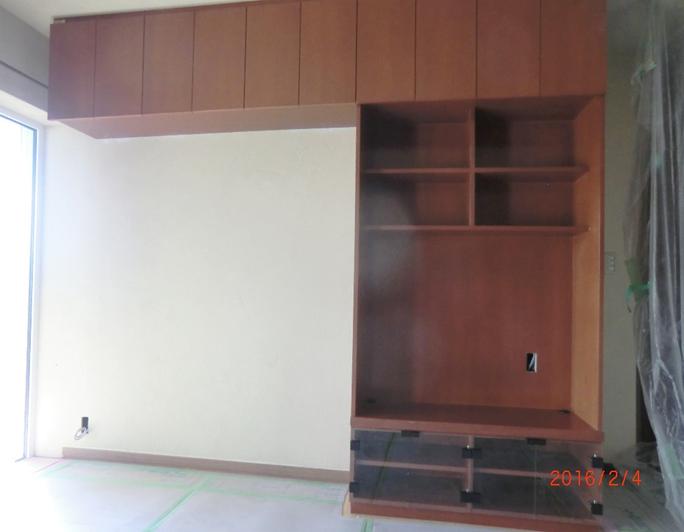 TV台 チェリーウレタン塗装 W2590×D400×H2400 ¥595,000税別