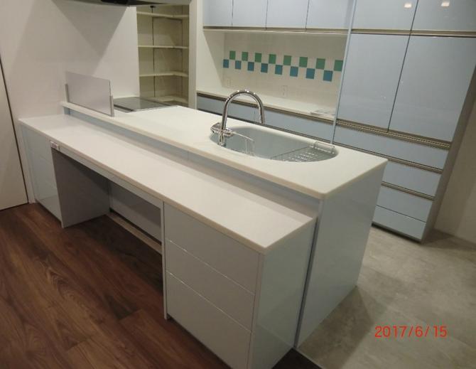 キッチン収納 鏡面塗装 コーリアンカウンター W2550×D420×H730 \490000税別
