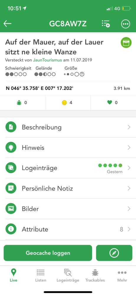 Infos auf der App