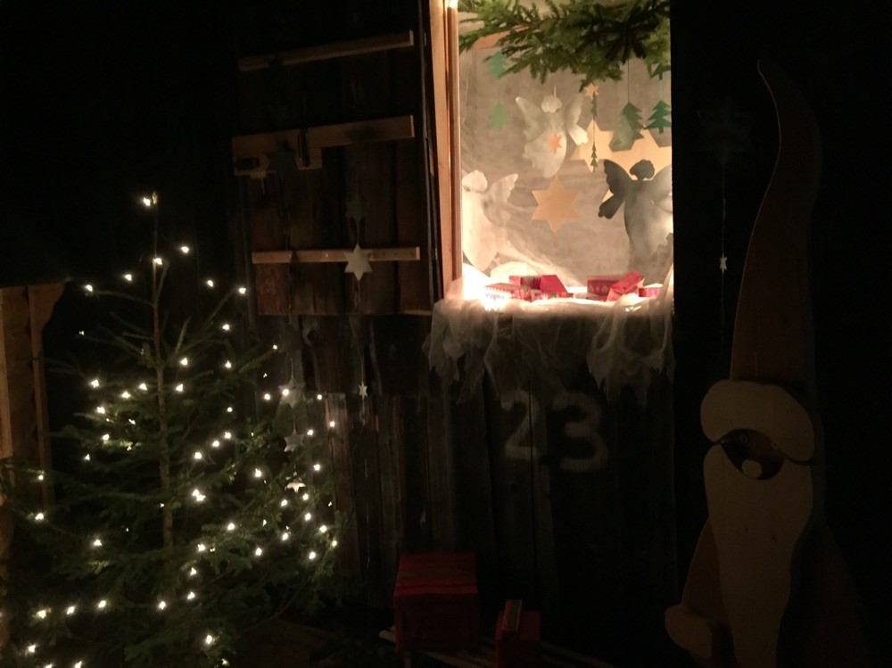 Adventsfenster 2015 Pistehüttli Schattenhalb, Sonja Nötinger, Skipiste, Jaun
