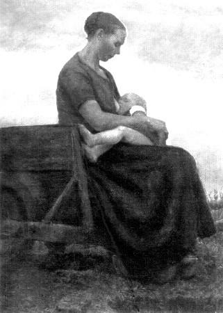 Foto : Mutter und Kind, (Moormadonna) Gemälde des Worpsweder Meisters Fritz Mackensen (1866-1953). Das Modell auf dem Torfkarren ist Hinrich Hanschens Mutter, der kräftige Säugling, Hinrich selbst