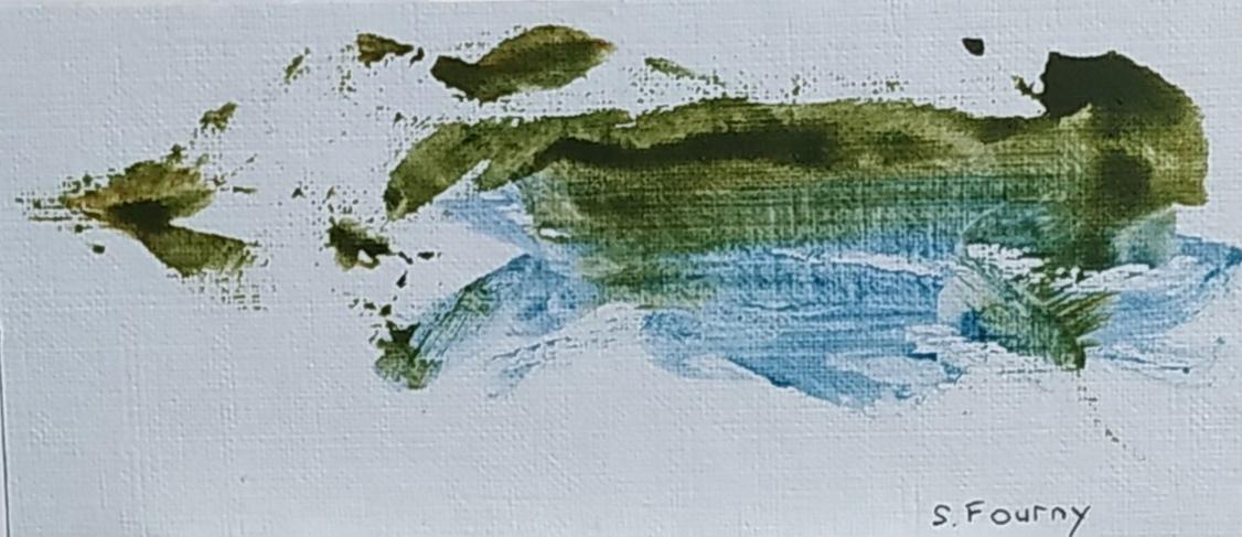 N°41 : 6,5 X 14,5 cm : pigments aquarellés sur papier