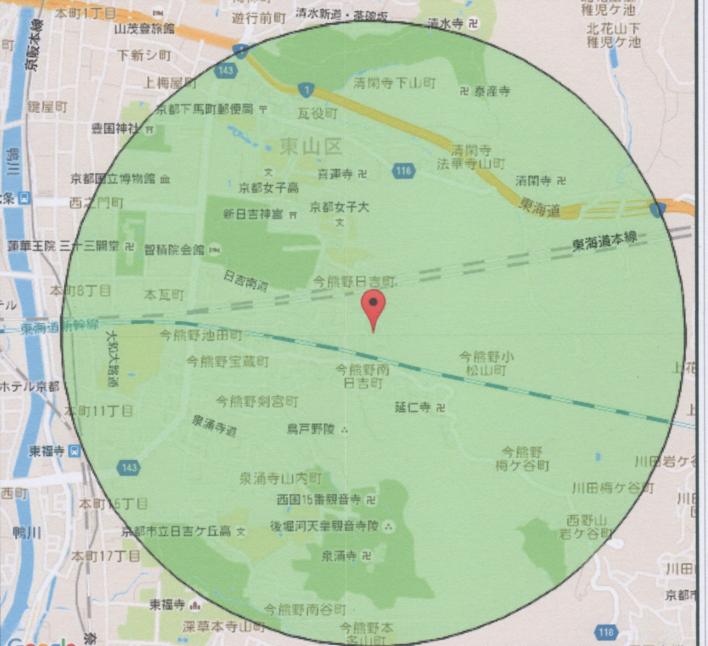 半径1kmまでの地域
