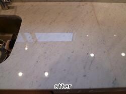 キッチン人工大理石のセラミックガード施工後