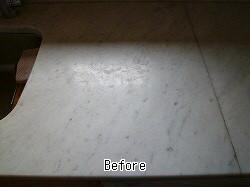 キッチン人工大理石のセラミックガード施工前