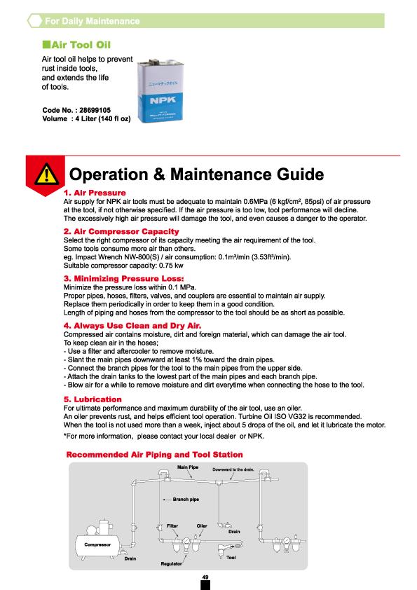NPK, Nippon Pneumatic, Air Tools, Maintenance Guide, Operation Manual, Code No