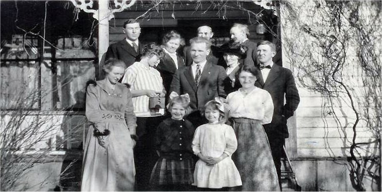 Family gathering at Charles & Mary Johnson's home, January 27, 1918 From top: Lester Pipgras, Mary Johnson, Nils Anderson, Charley Johnson, Hattie Anderson, Violet Johnson, Mannie Anderson, Tilda Johnson, Fred Cook, Margaret Auerswald, Vivian Johnson, Mar