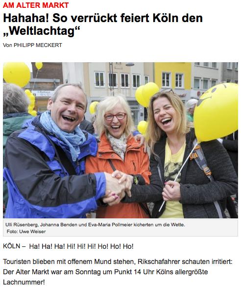 MIt Klick zum Weltlachtag 2015 auf den Altermarkt in Köln