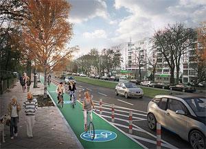 Visualisierung eines geschützten Radfahrstreifens in Berlin