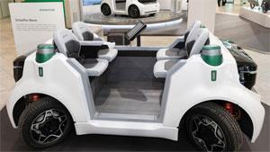 """""""Schaeffler Mover"""": Das kleine und sehr wendige Fahrzeugkonzept ist rein elektrisch betrieben und kann – mit verschiedenen Aufbauten versehen – in urbanen Räumen für flexible Transportaufgaben eingesetzt werden"""