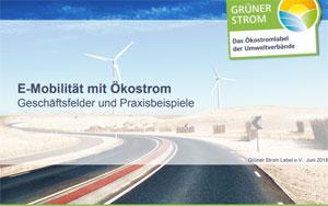 Die Infobroschüre stellt die Kombination von Elektromobilität mit zertifiziertem Ökostrom in den Mittelpunkt