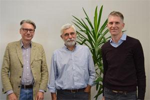 Der Vorstand des neuen Forschungszentrums Energiespeichertechnologien (von links): die Professoren Thomas Turek, Wolfgang Schade (Vorsitzender) und Leonhard Ganzer.