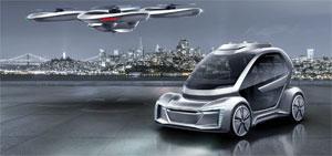 """""""Pop.Up Next"""" soll Verkehrsprobleme in Städten lösen. Die ultraleichte, zweisitzige Passagierkabine lässt sich laut Audi entweder mit einem Auto- oder einem Flugmodul koppeln."""