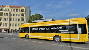 Die BVG testet Elektro-Busse seit Anfang September 2015 auf der Linie 204 zwischen Bahnhof Zoo und Bahnhof Südkreuz