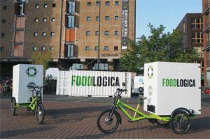Elektro-Lastenrad der Radkutsche GmbH (Nehren) für die letzten Meter der Nahrungsmittelauslieferung in Amsterdam an Cafés, Bars und Restaurants. Bild: Radkutsche