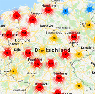 Alle Ladestationen der ladenetz.de Stadtwerke-Partner, ladenetz.de Business-Partner sowie der Roaming-Partner finden Fahrer von Elektro-Fahrzeugen mit der lademap (Ausschnitt)
