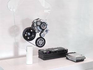 48V-Riemen-Startergenerator, 48V-Batterie und DC/DC-Wandler für den Hybrid-Golf. obs/Volkswagen