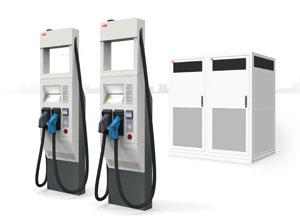 """An der Hochleistungs-Ladestation Terra HP können Elektro-Fahrzeuge mit 175 bzw. 350 KW """"tanken"""""""