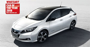 "Bei den ""What Car?""-Awards siegte der neue NISSAN LEAF in der Kategorie ""Bestes Elektroauto 2018"""