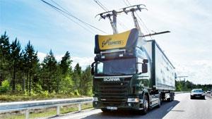 """Auf dem """"eHighway"""" werden zwei Scania-Lkw mit elektrifiziertem Hybridantrieb unterwegs sein"""