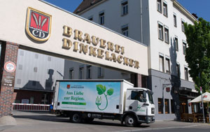 Als erste Brauerei Deutschlands liefert Dinkelacker ab sofort mit einem Elektro-LKW aus