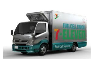 Der Brennstoffzellen-Lkw speichert Wasserstoff in drei Tanks mit rund sieben Kilogramm. Die von Toyota erwartete Reichweite liegt bei etwa 200 Kilometern.