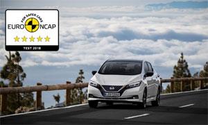 Die Bestnote von fünf Sternen für den Nissan Leaf berücksichtigt auch die umfangreiche Sicherheitsausstattung