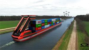 """PortLiner will elektrische Frachtschiffe auf Basis einer Wasserstoff-Stromspeichertechnik bauen .Quelle: """"obs/H2 Industries SE/Omega Architects"""""""