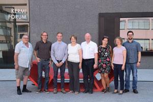 Besuch an der TH Deggendorf (v. l.): Hugo Steiner, Prof. Roland Zink, Moritz Schneider, Annette Karl MdL, Dr. Bernd Vilsmeier, Beate Straßer, Dr. Kristin Seffer und Markus Eider