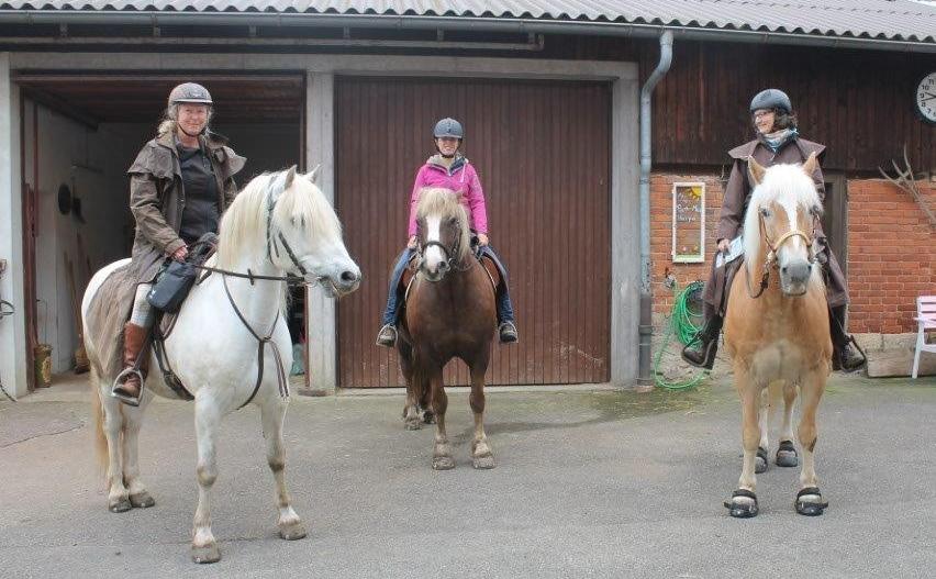 Die drei Reiterinnen mit Ihren Pferden