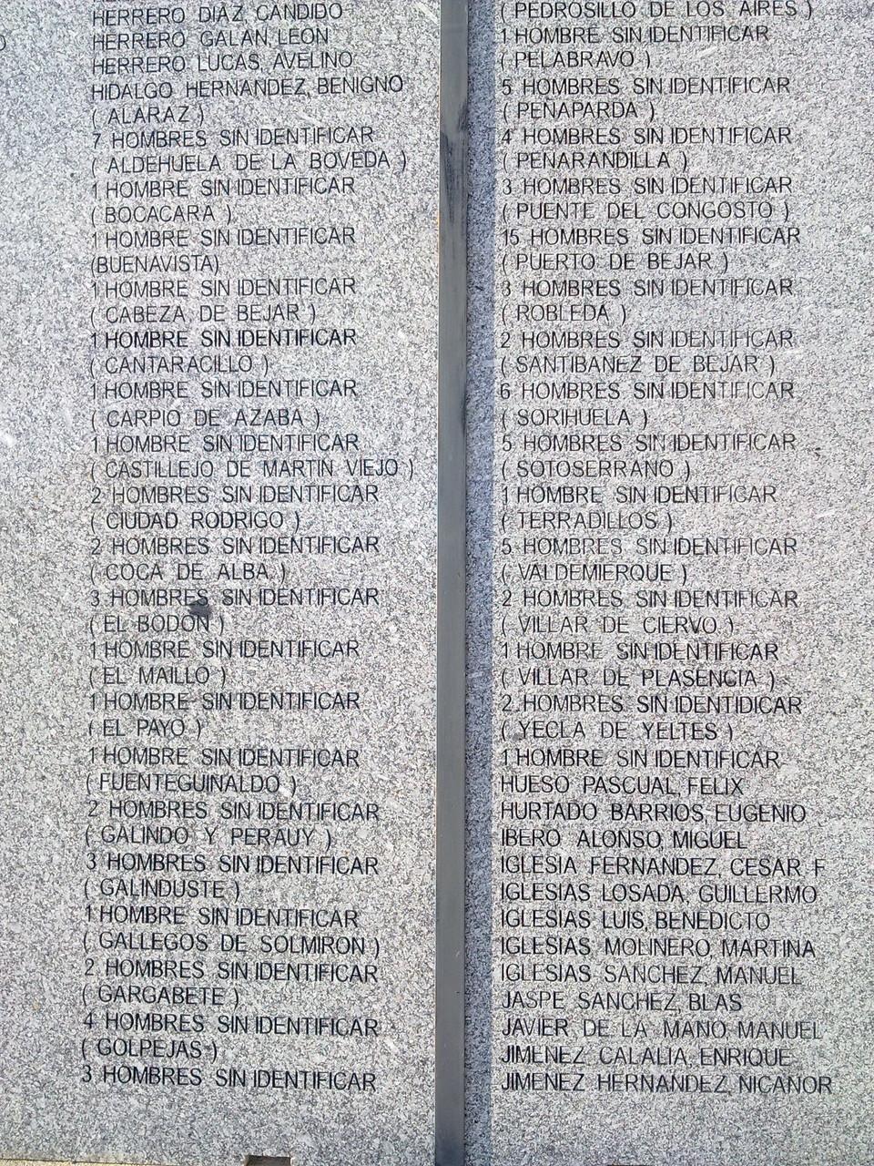 Listado de cementerio Salamanca, desconocidos, foto propia