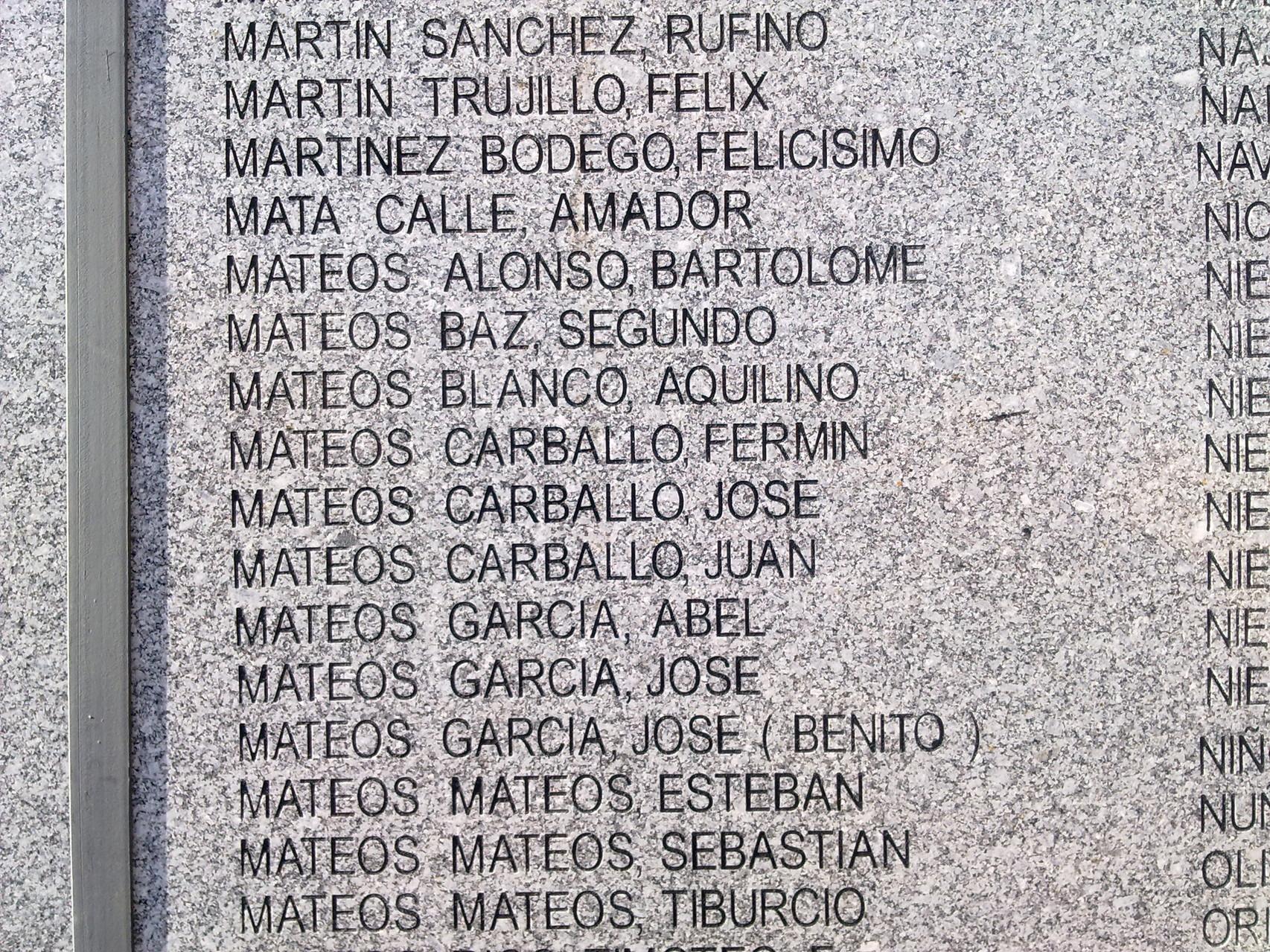 Listado de cementerio Salamanca, donde aparecen los nombres de los Rosos, foto propia