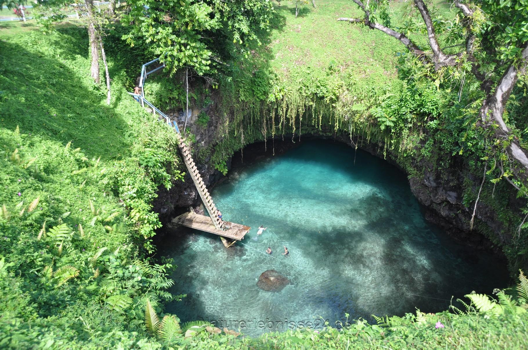 Im Krater baden
